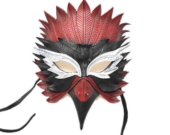 Red Bird Handmade Genuine Leather Mask  for Masquerades Cosplay or Halloween Costumes