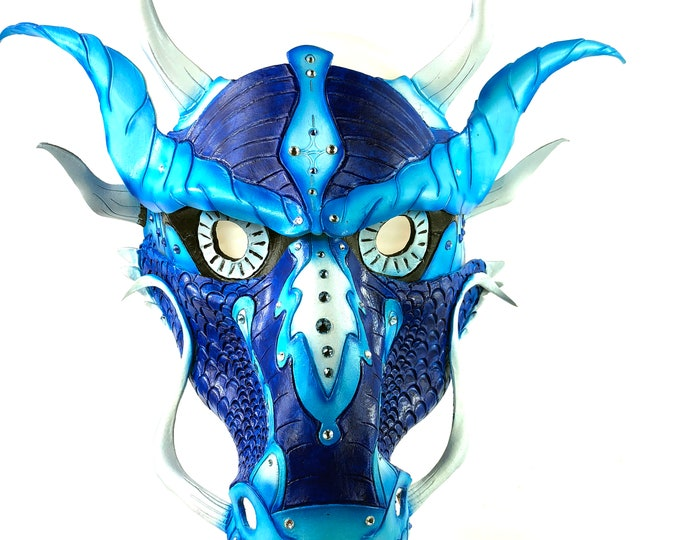 Blue Ancient Chinese Dragon Leather Mask with Swarovski Crystals