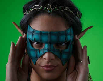 Handmade Genuine Leather Mask in Blue for Masquerades Halloween or Cosplay - Riveted