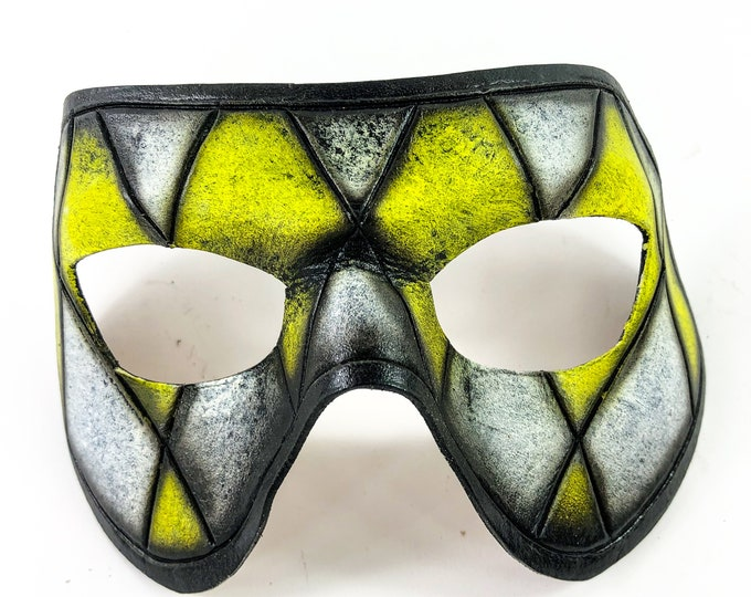 Harlequin Handmade Genuine Leather Mask in Black White and Yellow