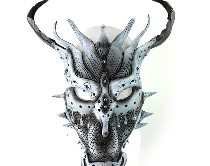 Monochrome Ancient Dragon Design with Swarovski Crystals -  Handmade Genuine Leather Mask for Masquerades Halloween or Cosplay Costume