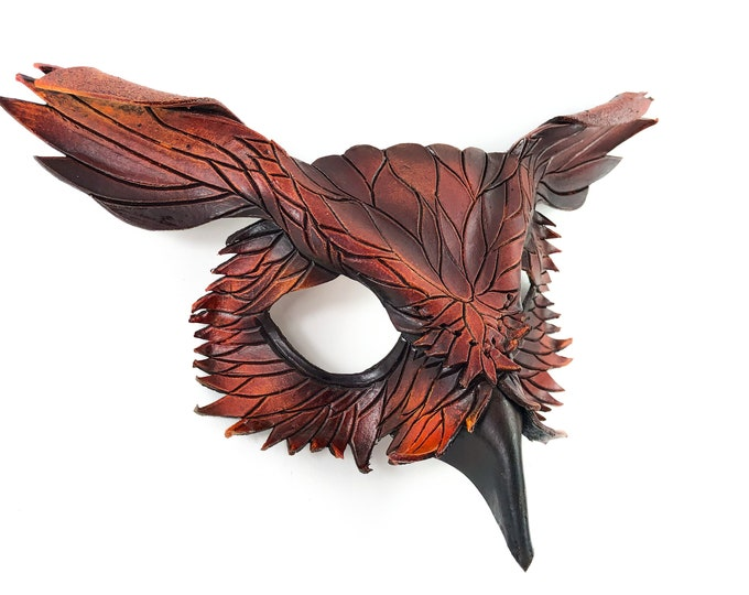 Layered Horned Owl Handmade Genuine Leather Mask for Masquerades Halloween or Cosplay Costume
