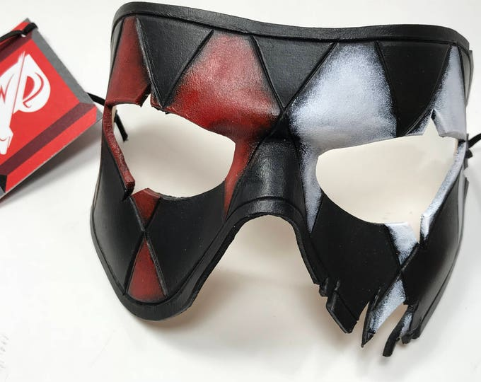 Harlequin Handmade Genuine Leather Mask in Red White Black and Gold for Masquerades Halloween or Cosplay