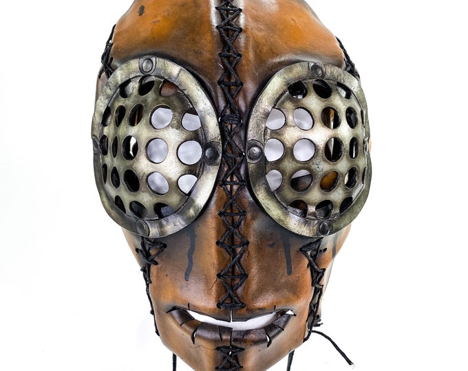 The Toy  - One of a Kind Handmade Leather Mask with Pull Ties