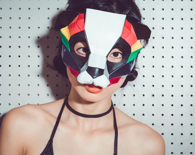 Geometric Rainbow Panda Bear Leather Mask for Masquerades Halloween or Cosplay Costume