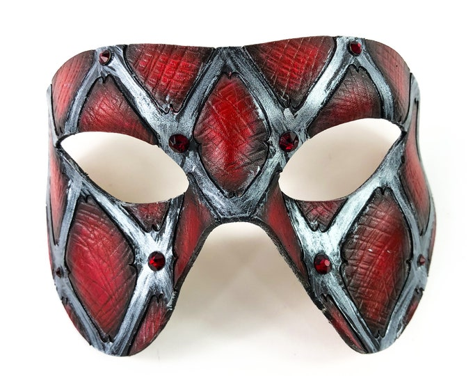 Handmade Genuine Leather Mask in Red and Silver with Swarovski Crystal Accents