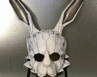 Geometric Bunny Leather Mask for Masquerades Halloween or Cosplay Costume in White or Black