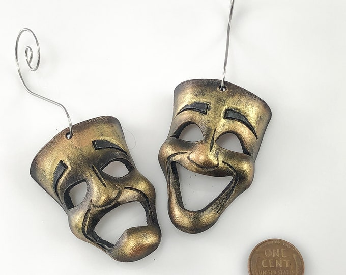 Set of Miniature Theatre Masks - Gold Theatrical Mask