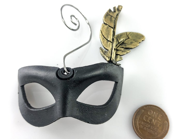 Miniature Leather Mask Ornament - Black and Gold