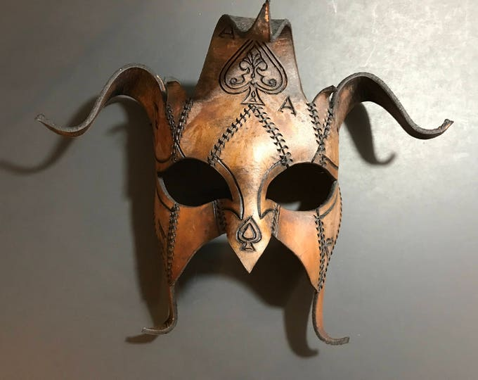 The Joker's Card- Joker Jester Handmade Genuine Leather Mask in Dyed Leather