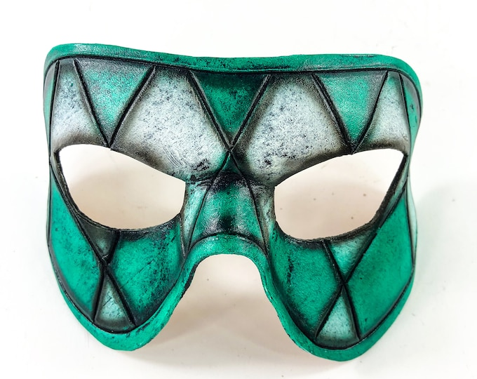 Harlequin Handmade Genuine Leather Mask in Teal and White