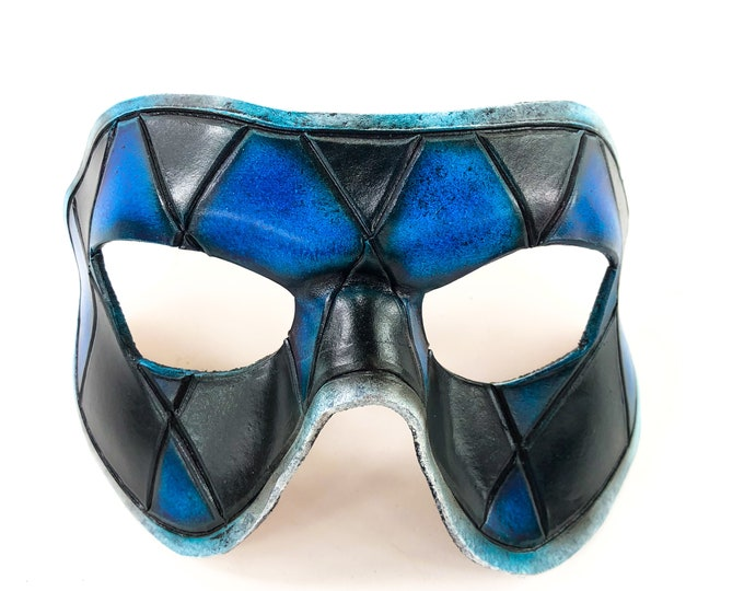 Harlequin Handmade Genuine Leather Mask in Black and Blue