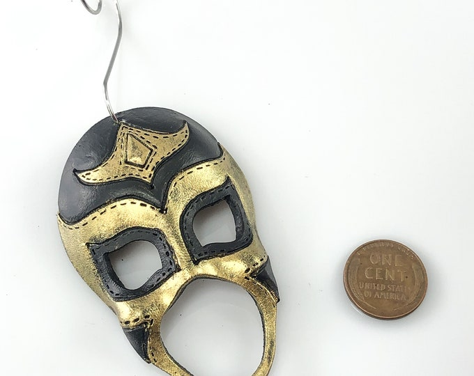 Luchador Miniature Genuine Leather Mask Ornament - Gold and Black