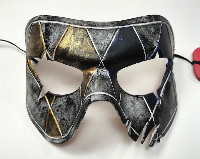 Harlequin Handmade Genuine Leather Mask in Blue White Black and Gold for Masquerades Halloween or Cosplay