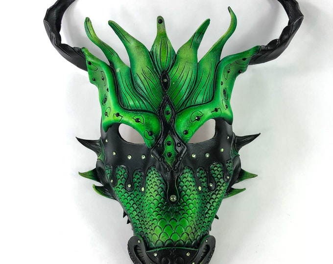 Green Ancient Dragon Leather Mask with Swarovski Crystals
