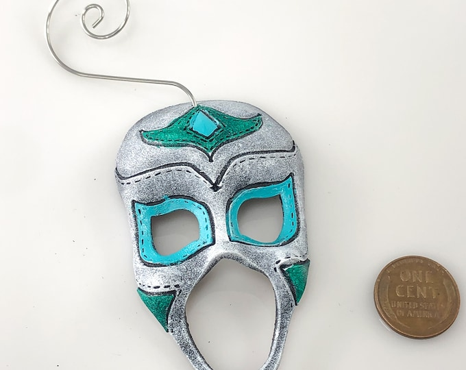 Luchador Miniature Genuine Leather Mask Ornament - White and Blue