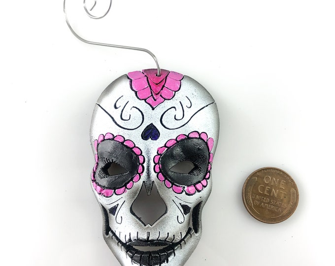Sugar Skull Miniature Genuine Leather Mask Ornament - Pink