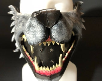Mouth of the Lycan - Handmade Genuine Leather Riding Mouth Mask for Masquerades Halloween or Cosplay Costumes - Wolf Jaws