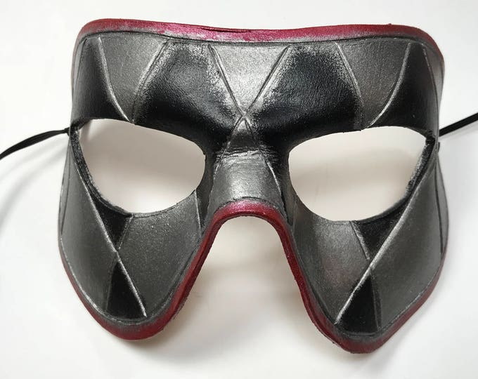 Harlequin Handmade Genuine Leather Mask in Red, Black and Silver for Masquerades Halloween or Cosplay