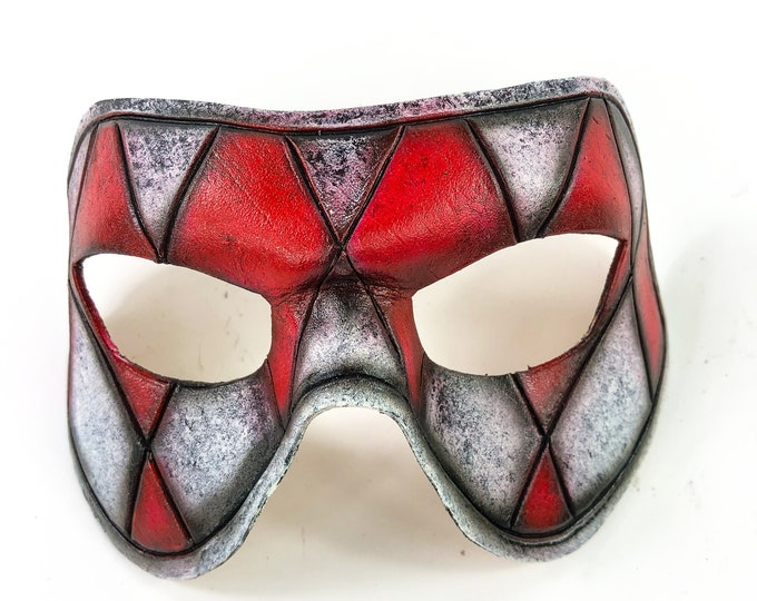 Harlequin Handmade Genuine Leather Mask in Red and White