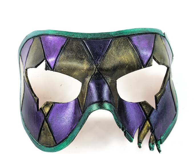 Harlequin Handmade Genuine Leather Mask in Metallic purple, green and gold
