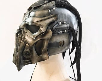 Dreaded Helmet Genuine Leather Mask  for Masquerades Cosplay or Halloween Costumes