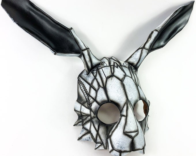 Geometric Bunny Leather Mask in Black and White