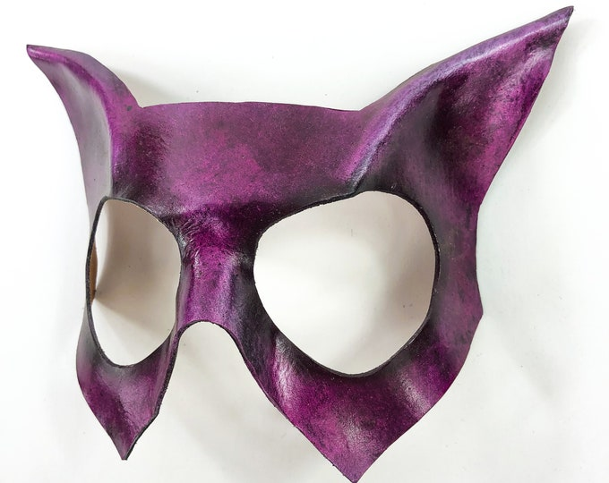 Handmade Genuine Leather Cat Mask in Pink