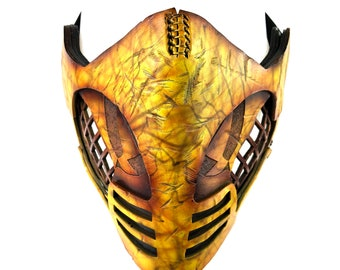 Handcrafted Genuine Leather Yellow Fighter Mask