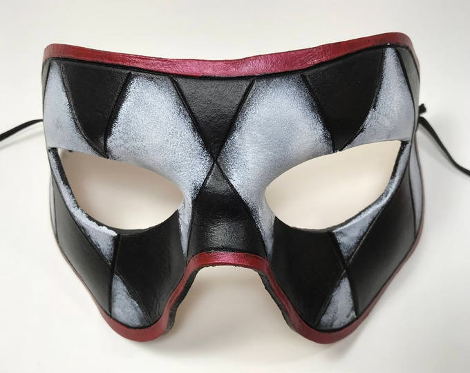 Harlequin Handmade Genuine Leather Mask in Black, White and Red for Masquerades Halloween or Cosplay