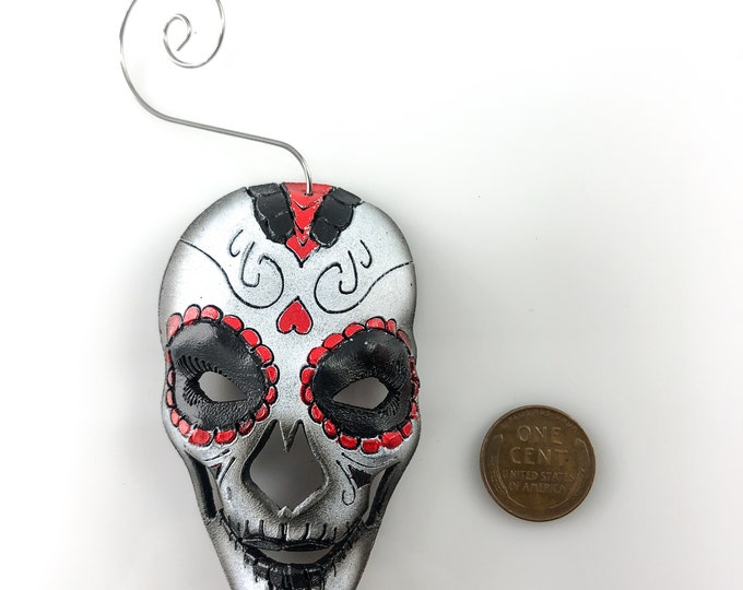 Sugar Skull Miniature Genuine Leather Mask Ornament - Red Black and White