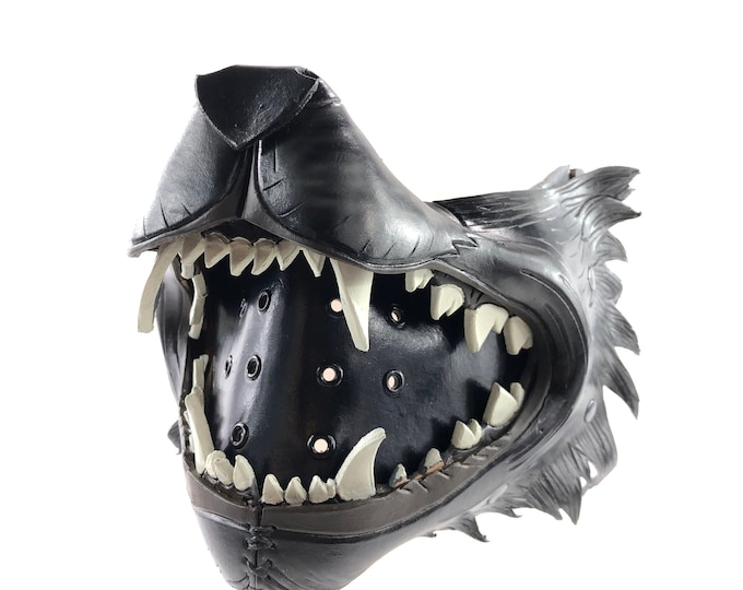 Black Wolf Handmade Genuine Leather Riding Mouth Mask