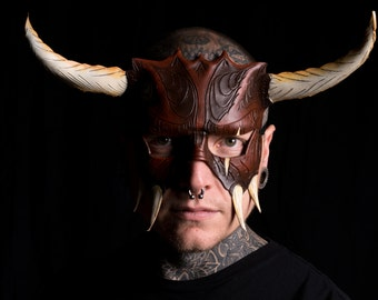 Handmade Genuine Leather Mask with Horns in Natural Colors for Masquerade Halloween or Cosplay Costume - The Horned Beast