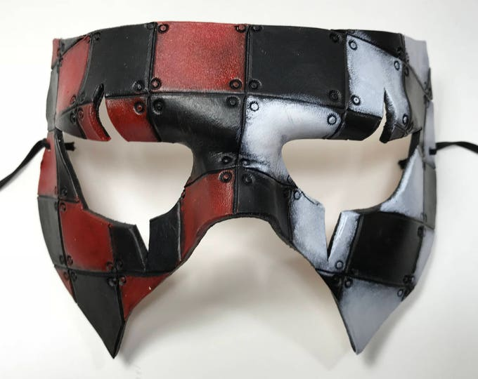 Handmade Genuine Leather Mask in Red, White and Black for Masquerades Halloween or Cosplay Costume - Riveted