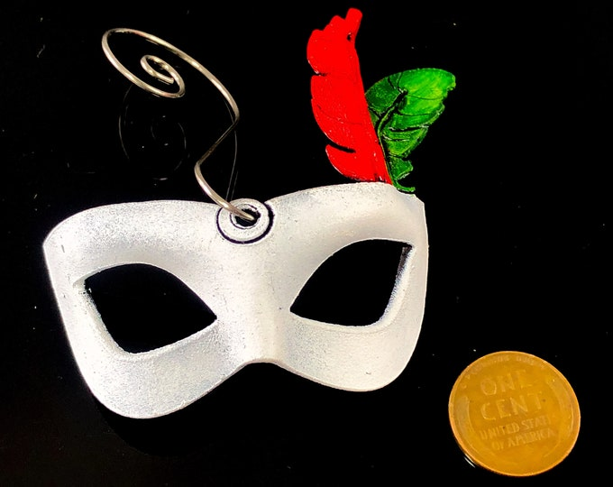 Miniature Leather Mask Ornament - Festive Colors