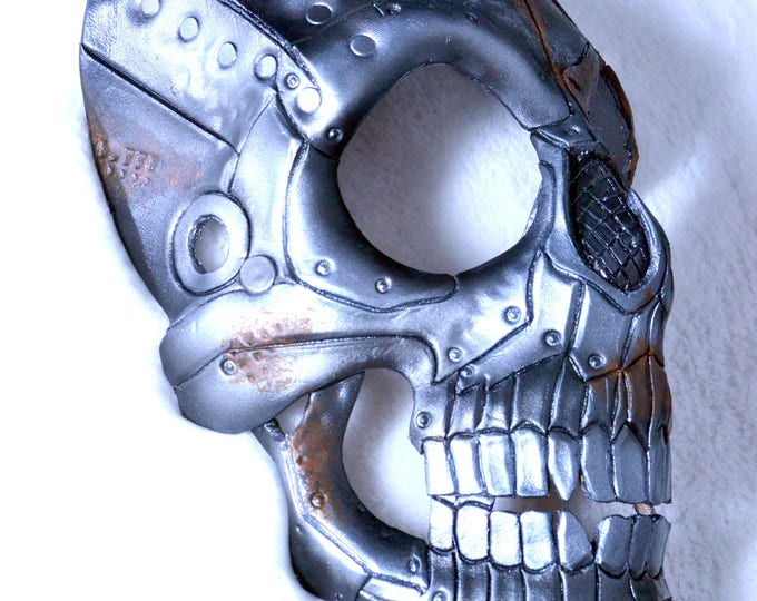 Rusted Metal Skull Handmade Genuine Leather Mask in White and Brown