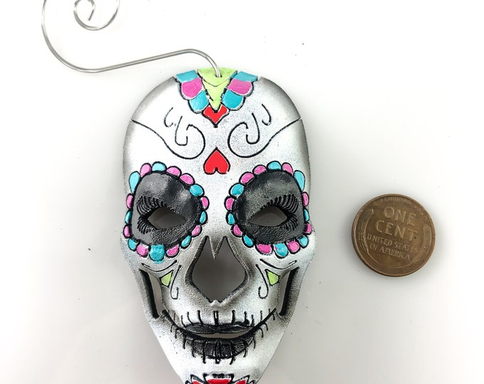 Sugar Skull Miniature Genuine Leather Mask Ornament - Mixed Colors