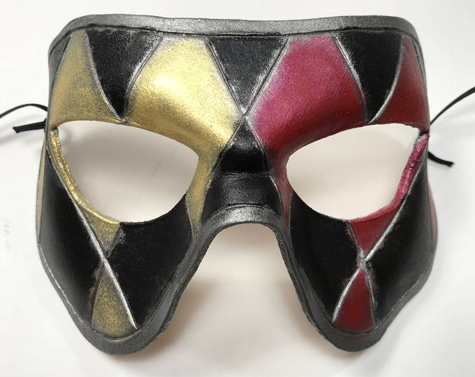 Harlequin Handmade Genuine Leather Mask in Black Red Silver and Gold for Masquerades Halloween or Cosplay