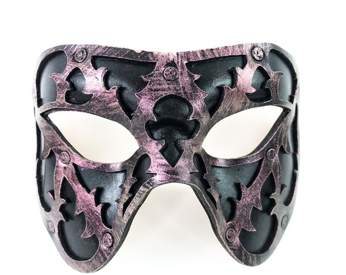 Dual Layer Handmade Genuine Leather Mask in Pink and Black