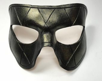 Harlequin Handmade Genuine Leather Mask in Black with Gold Hues for Masquerades Halloween or Cosplay