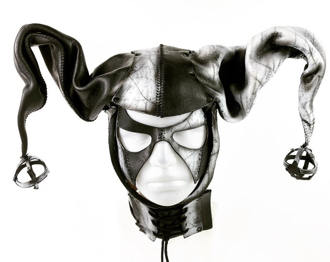 Handcrafted Genuine Leather Jester Mask in Black and White