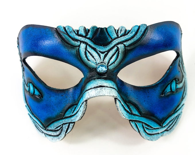 Handmade Genuine Leather Mask in Blue and White with Swarovski Crystal Accent