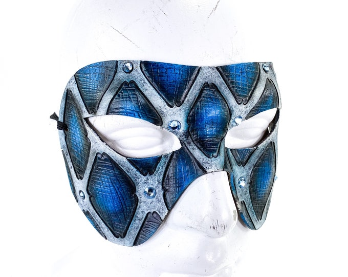 Handmade Genuine Leather Mask in Blue with Swarovski Crystal Accents