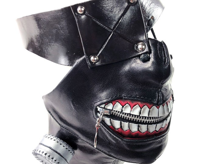 Handcrafted Genuine Leather Zipper Mouth Mask with Elastic Zipper Enclosure