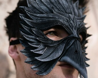 Black Raven Handmade Genuine Leather Mask  for Masquerades Cosplay or Halloween Costumes