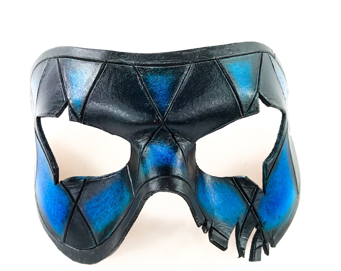 Harlequin Handmade Genuine Leather Mask in Blue and White