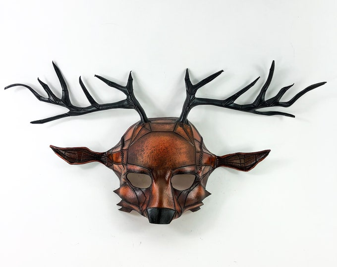 Geometric Deer Leather Mask for Masquerades Halloween or Cosplay Costume