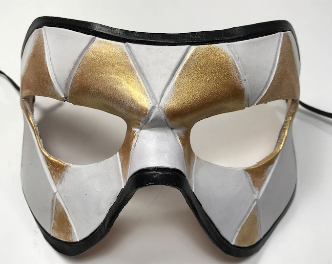 Harlequin Handmade Genuine Leather Mask in Black White and Gold for Masquerades Halloween or Cosplay