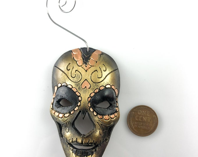 Sugar Skull Miniature Genuine Leather Mask Ornament - Black and Gold