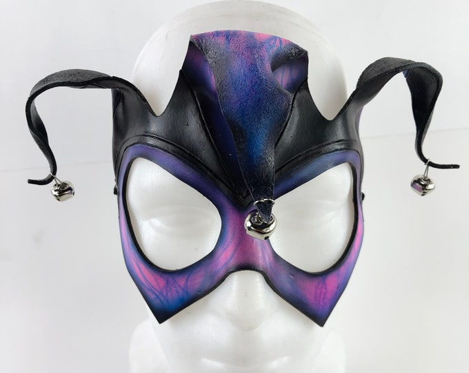 Handmade Genuine Leather Jester Mask in Blue and Pink